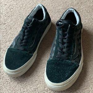 Vans black suede checkered shoes men's sz 8.5